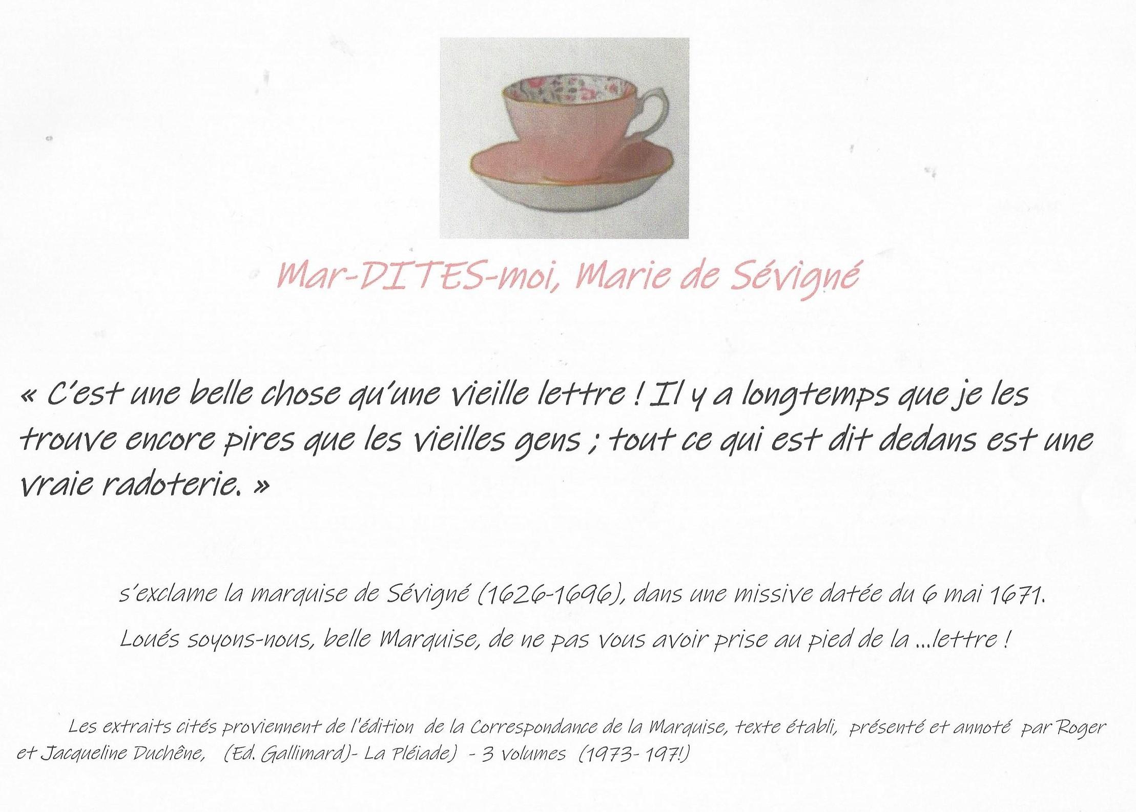Mar-Dites-moi :  La marquise et les vieilles lettres ...